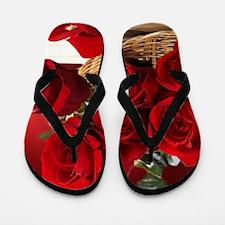 Superb Red Roses Flip Flops