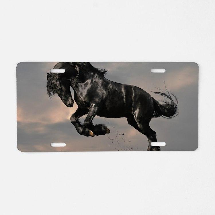 Beautiful Black Horse Aluminum License Plate