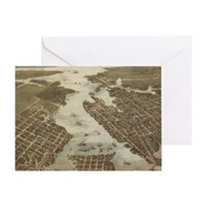 Vintage Map of Norfolk and Portsmout Greeting Card