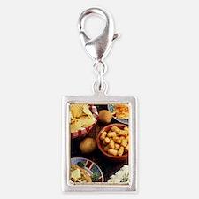 Potato Foods Silver Portrait Charm