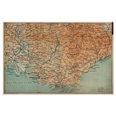 Vintage Map of Southern France (1914) Poster