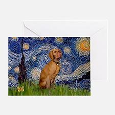 Starry Night & Vizsla Greeting Card