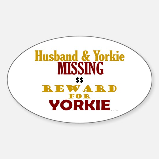 Husband & Yorkie Missing Oval Decal