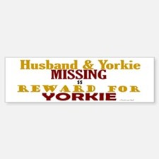 Husband & Yorkie Missing Bumper Car Car Sticker