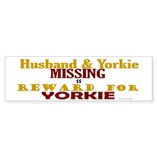 Husband & Yorkie Missing Bumper Car Sticker