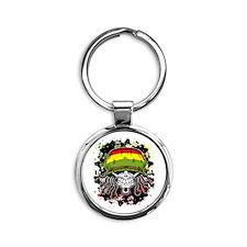 Jamaican Rasta Skull Round Keychain
