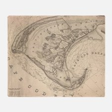Vintage Map of Provincetown (1836) Throw Blanket