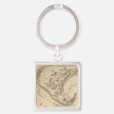 Vintage Map of Provincetown (1836) Square Keychain
