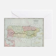 Vintage Map of Puerto Rico (1901) Greeting Card