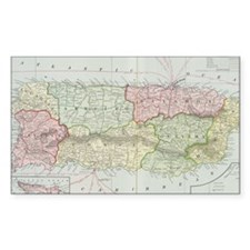 Vintage Map of Puerto Rico (19 Decal