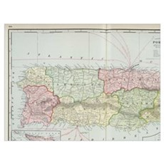Vintage Map of Puerto Rico (1901) Poster