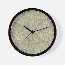 Vintage Map of The Richmond Virginia Ar Wall Clock