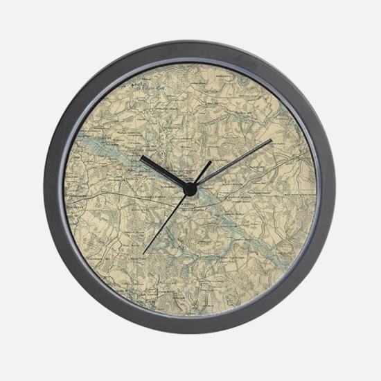 Vintage Map of The Richmond Virginia Ar Wall Clock