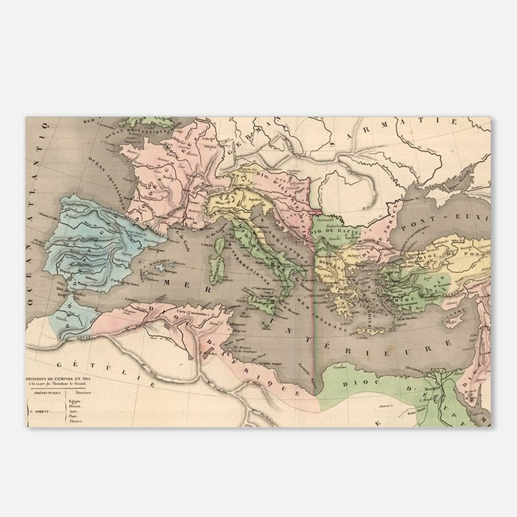 Vintage Map of The Roman  Postcards (Package of 8)