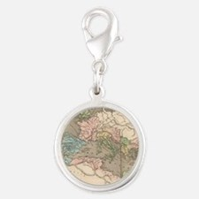 Vintage Map of The Roman Empir Silver Round Charm
