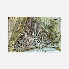 Vintage Map of Rotterdam Netherla Rectangle Magnet