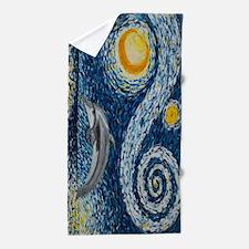 Starry Night Dolphin Beach Towel
