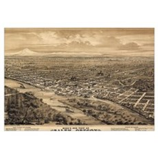 Vintage Pictorial Map of Salem Oregon (1876)  Canvas Art