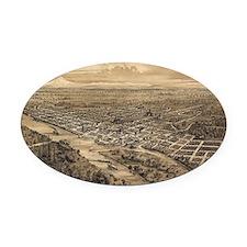 Vintage Pictorial Map of Salem Ore Oval Car Magnet