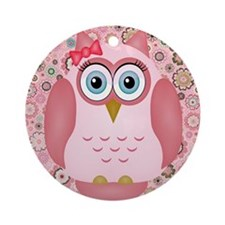 Owl Girl and Flowers Ornament (Round)