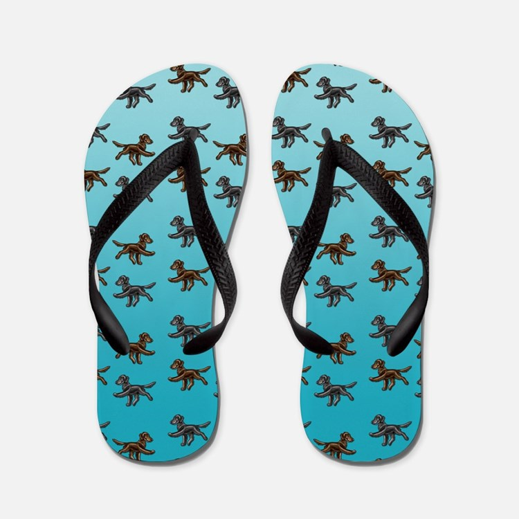 Flat Coated Retriever Pattern Flip Flops