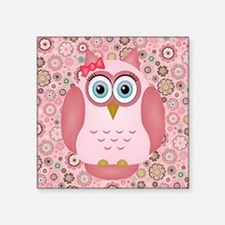 Owl Girl and Flowers Sticker