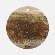 Vintage Pictorial Map of San Franci Round Ornament