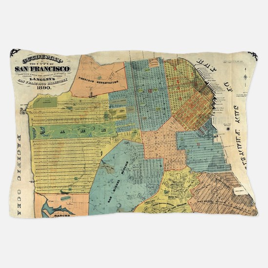 Vintage Map of San Francisco (1890) Pillow Case