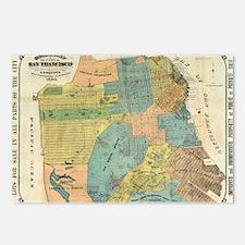 Vintage Map of San Franci Postcards (Package of 8)