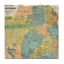 Vintage Map of San Francisco (1890) Tile Coaster