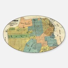 Vintage Map of San Francisco (1890) Sticker (Oval)