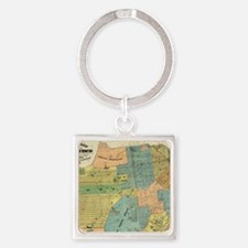Vintage Map of San Francisco (1890 Square Keychain