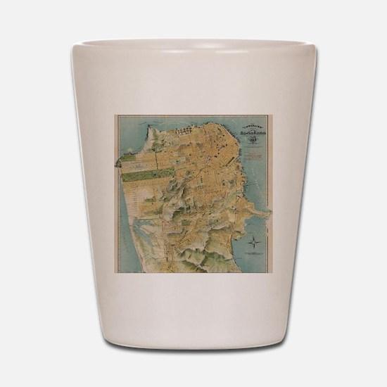 Vintage Map of San Francisco (1915) Shot Glass