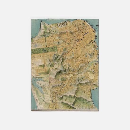 Vintage Map of San Francisco (1915) 5'x7'Area Rug