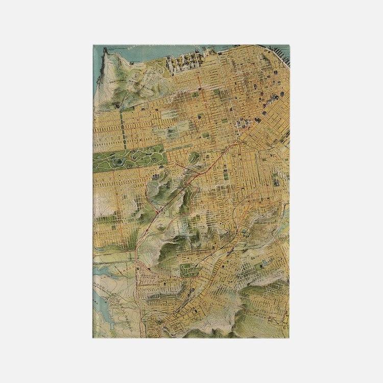Vintage Map of San Francisco (191 Rectangle Magnet