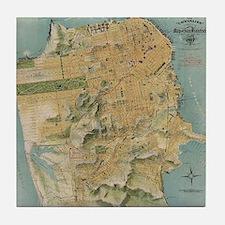 Vintage Map of San Francisco (1915) Tile Coaster