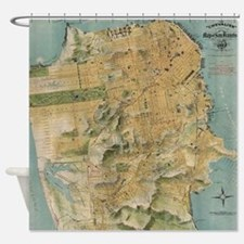 Vintage Map of San Francisco (1915) Shower Curtain