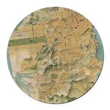 Vintage Map of San Francisco (191 Round Car Magnet