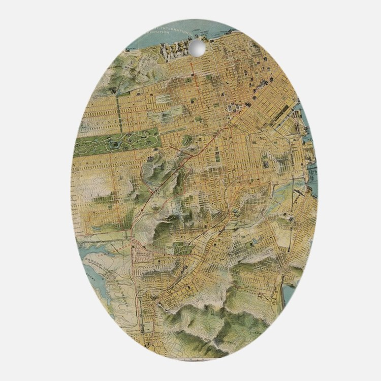 Vintage Map of San Francisco (1915) Oval Ornament