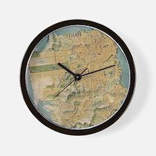 Vintage Map of San Francisco (1915) Wall Clock