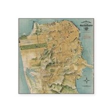 "Vintage Map of San Francisc Square Sticker 3"" x 3"""