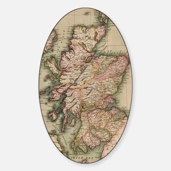 Vintage Map of Scotland (1814) Sticker (Oval)