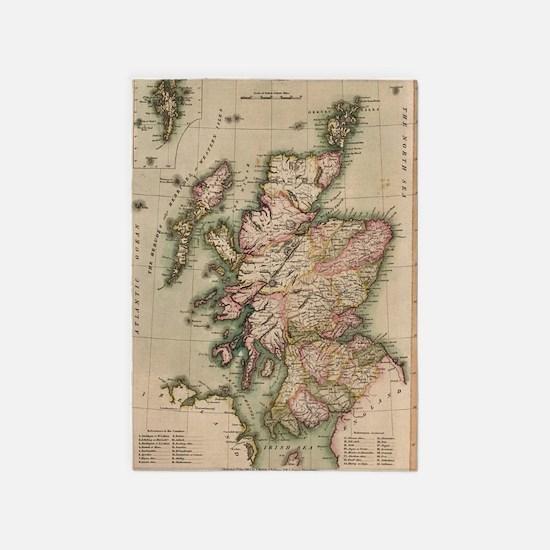 Vintage Map of Scotland (1814) 5'x7'Area Rug