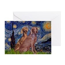 Starry Night & Weimaraner Greeting Card