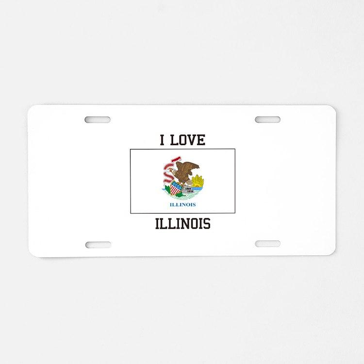 I Love Illinois Aluminum License Plate
