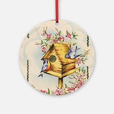 Unique Birdhouse Round Ornament
