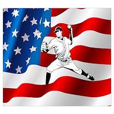 Baseball Player On American Flag Poster