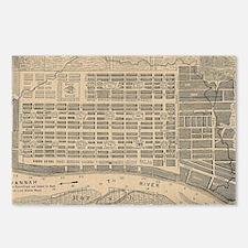 Vintage Map of Savannah G Postcards (Package of 8)