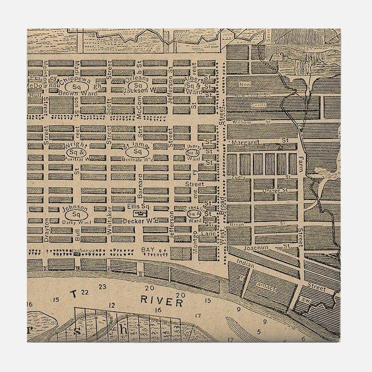 Vintage Map of Savannah Georgia (1818 Tile Coaster