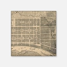 "Vintage Map of Savannah Geo Square Sticker 3"" x 3"""